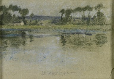 John Henry Twachtman (American, 1853-1902). <em>Trees Across the River</em>, late 19th century. Pastel on paper, Sight: 7 3/8 x 10 5/8 in. (18.7 x 27 cm). Brooklyn Museum, Museum Surplus Fund, 25.418 (Photo: Brooklyn Museum, 25.418_PS1.jpg)