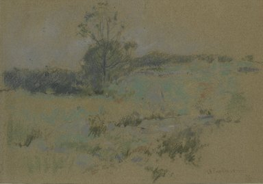 John Henry Twachtman (American, 1853-1902). <em>Study of Landscape (recto) / Unfinished Perspective Study (verso)</em>, ca. 1888-1895. Pastel with graphite underdrawing on gray wove paper, 14 1/8 x 21 7/8 in. (35.9 x 55.6 cm). Brooklyn Museum, Museum Surplus Fund, 25.419 (Photo: Brooklyn Museum, 25.419_PS2.jpg)