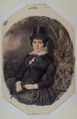 Ernest-Joseph-Angelon Girard (French, 1813-1898). <em>Portrait of a Woman in Black</em>, 1855. Watercolor on paperboard, Image: 14 3/4 x 11 3/4 in. (37.5 x 29.8 cm). Brooklyn Museum, Caroline H. Polhemus Fund, 25.423 (Photo: Brooklyn Museum, 25.423.jpg)