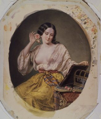 Ernest-Joseph-Angelon Girard (French, 1813-1898). <em>Young Woman at Her Toilette</em>, probably mid-1860s. Watercolor on paperboard, Image: 13 15/16 x 11 1/4 in. (35.4 x 28.6 cm). Brooklyn Museum, Caroline H. Polhemus Fund, 25.424 (Photo: Brooklyn Museum, 25.424.jpg)