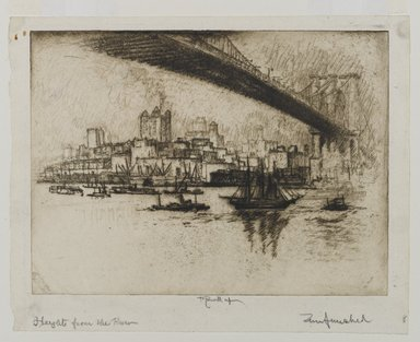 Joseph Pennell (American, 1860-1926). <em>The Heights, Brooklyn</em>, 1924. Etching, Sheet: 8 5/16 x 10 1/2 in. (21.1 x 26.7 cm). Brooklyn Museum, Gift of the artist, 25.43 (Photo: Brooklyn Museum, 25.43_PS1.jpg)