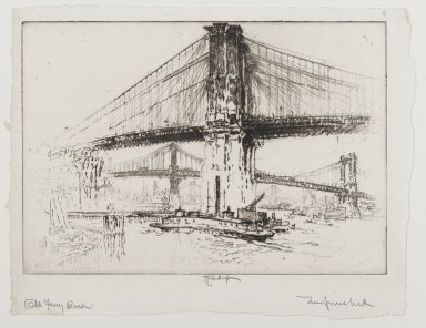Joseph Pennell (American, 1860-1926). <em>The Bridges, From Beneath</em>, 1921. Etching, Image: 6 7/8 x 10 3/16 in. (17.5 x 25.8 cm). Brooklyn Museum, Gift of the artist, 25.44 (Photo: Brooklyn Museum, 25.44_PS2.jpg)
