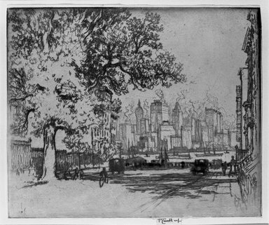 Joseph Pennell (American, 1860-1926). <em>New York, from Grace Court</em>, 1924. Etching, Image: 7 3/8 x 8 7/8 in. (18.7 x 22.6 cm). Brooklyn Museum, Gift of Edward C. Blum, 25.48 (Photo: Brooklyn Museum, 25.48_bw.jpg)