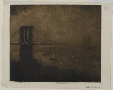 Joseph Pennell (American, 1860-1926). <em>Brooklyn Bridge at Night</em>, 1922. Aquatint in black ink on cream, light-weight, slightly textured laid paper, Sheet: 8 3/8 x 10 1/2 in. (21.3 x 26.7 cm). Brooklyn Museum, Gift of the artist, 25.50 (Photo: Brooklyn Museum, 25.50_PS1.jpg)