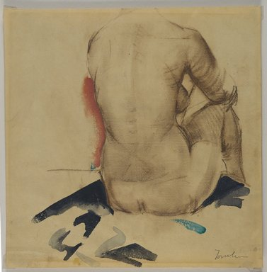 Bradley Walker Tomlin (American, 1899-1953). <em>Back</em>, ca. 1925. Conté crayon and watercolor on medium, beige, moderately textured, laid paper paper with watermark, Sheet: 11 1/2 x 11 5/16 in. (29.2 x 28.7 cm). Brooklyn Museum, Gift of Frank L. Babbott, 25.520 (Photo: Brooklyn Museum, 25.520_PS3.jpg)