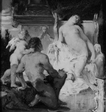Sarah  Paxton Ball Dodson (American, 1847-1906). <em>Venus</em>, ca. 1880. Oil on canvas, 13 7/8 x 12 15/16 in. (35.2 x 32.8 cm). Brooklyn Museum, Gift of R. Ball Dodson, 25.523 (Photo: Brooklyn Museum, 25.523_bw.jpg)
