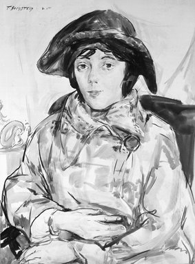 Theresa F. Bernstein (American, 1890-2002). <em>Girl in Cap</em>, ca. 1925. Watercolor on board, 26 1/2 x 19 5/8 in. (67.3 x 49.8 cm). Brooklyn Museum, Museum Collection Fund, 25.535. © artist or artist's estate (Photo: Brooklyn Museum, 25.535_glass_bw.jpg)