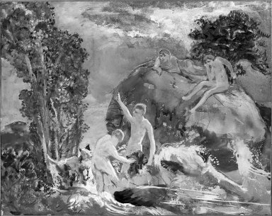 Alice Mumford Culin (American, 1875-1965). <em>The Bathers</em>, 19th century. Watercolor, Image: 14 3/4 x 18 5/16 in. (37.5 x 46.5 cm). Brooklyn Museum, Museum Collection Fund, 25.539 (Photo: Brooklyn Museum, 25.539_acetate_bw.jpg)