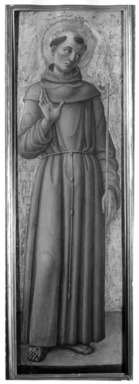 Bartolomeo Vivarini (Italian, School of Venice, active 1450-1491). <em>Saint Francis of Assisi, part of an altarpiece</em>, ca. 1460. Tempera and tooled gold on poplar panel, 51 3/8 x 15 1/2 in. (130.5 x 39.4 cm). Brooklyn Museum, Gift of Frank L. Babbott, 25.56 (Photo: Brooklyn Museum, 25.56_print_bw.jpg)