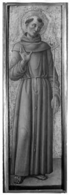 Bartolomeo Vivarini (Italian, School of Venice, active 1450-1491). <em>Saint Francis of Assisi, part of an altarpiece</em>, ca. 1460. Tempera and tooled gold on poplar panel, 51 3/8 x 15 1/2 in. (130.5 x 39.4 cm). Brooklyn Museum, Gift of Frank L. Babbott, 25.56 (Photo: Brooklyn Museum, 25.56_print_bw.jpg)