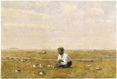 Thomas Eakins (American, 1844-1916). <em>Whistling for Plover</em>, 1874. Transparent watercolor and small touches of opaque watercolor over graphite on cream, moderately thick, moderately textured wove paper., 11 5/16 x 16 11/16 in. (28.7 x 42.4 cm). Brooklyn Museum, Museum Collection Fund, 25.656 (Photo: Brooklyn Museum, 25.656_SL1.jpg)