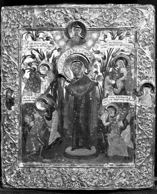 Unknown. <em>Icon</em>. Silver, 12 3/16 x 9 13/16 in. (31 x 25 cm). Brooklyn Museum, Gift of Frank L. Babbott, 25.712. Creative Commons-BY (Photo: Brooklyn Museum, 25.712_framed_bw.jpg)