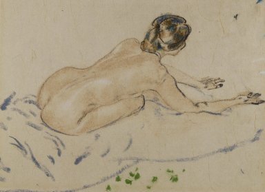 Arthur B. Davies (American, 1862-1928). <em>Nude</em>, n.d. Pastel on beige Japanese laid paper mounted to wood-pulp board, Sheet: 11 x 14 1/2 in. (27.9 x 36.8 cm). Brooklyn Museum, Gift of Frank L. Babbott, 25.713. © artist or artist's estate (Photo: Brooklyn Museum, 25.713_cropped_PS3.jpg)