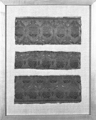 <em>Brocade Panel</em>, 17th-18th century. Silk, Approximately: 14 9/16 in. (37 cm) square. Brooklyn Museum, Frederick Loeser Fund, 25.740. Creative Commons-BY (Photo: Brooklyn Museum, 25.740_framed_bw.jpg)