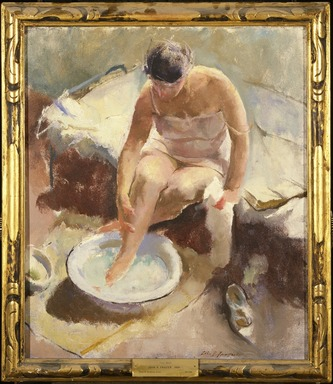 John R. Frazier (American, 1889-1966). <em>Foot Bath</em>, 1917-1923. Oil on canvas, 26 x 22 1/8 in. (66 x 56.2 cm). Brooklyn Museum, Carll H. de Silver Fund, 25.756 (Photo: Brooklyn Museum, 25.756_SL3.jpg)