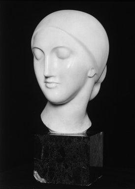 Elie Nadelman (American, 1882-1946). <em>La Mysterieuse</em>, ca. 1910. Marble, Head only: 13 3/8 x 9 x 10 1/2 in., 43 lb. (34 x 22.9 x 26.7 cm, 19.5kg). Brooklyn Museum, Robert B. Woodward Memorial Fund, 25.813. Creative Commons-BY (Photo: Brooklyn Museum, 25.813_bw.jpg)