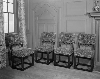 <em>Two Side Chairs</em>, ca. 1650. Oak, 38 x 20 x 16 3/4 in. (96.5 x 50.8 x 42.5 cm). Brooklyn Museum, 25.814.2. Creative Commons-BY (Photo: , 25.814.1_25.814.2_25.814.3_25.814.4_acetate_bw.jpg)