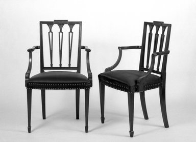 American. <em>Two Mahogany Armchairs</em>, ca. 1800. Mahogany, 36 3/4 x 21 1/4 x 17 in. (93.3 x 54 x 43.2 cm). Brooklyn Museum, Gift of Mrs. E. C. Philip, 25.816.1-.2. Creative Commons-BY (Photo: Brooklyn Museum, 25.816.1_25.816.2_bw.jpg)