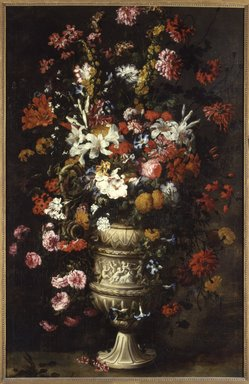 Attributed to Jan Peeter Brueghel (Flemish, 1628-after 1664). <em>Flowers in a Figured Vase</em>, ca. 1670s. Oil on canvas, 73 3/4 x 46 5/8 in. (187.3 x 118.4 cm). Brooklyn Museum, Gift of Dr. James Warren Lane, 25.838 (Photo: Brooklyn Museum, 25.838_framed_SL4.jpg)