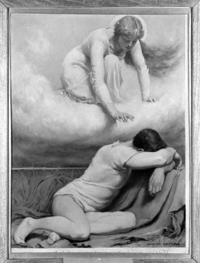 """Kenyon Cox (American, 1856-1919). <em>The Blessed Damozel: """"Fain to Be Hearkened,""""</em> 1886. Oil, grisaille on canvas, Design: 22 x 16 1/2 in. Brooklyn Museum, Gift of Mrs. Daniel Chauncey, 25.840l (Photo: Brooklyn Museum, 25.840l_framed_bw.jpg)"""