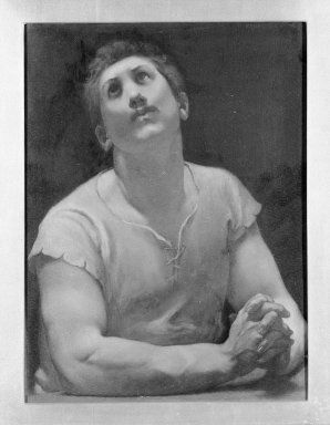 """Kenyon Cox (American, 1856-1919). <em>The Blessed Damozel: """"But God Shall Lift,""""</em> 1886. Oil, grisaille on canvas, Design: 17 1/2 x 13 in. Brooklyn Museum, Gift of Mrs. Daniel Chauncey, 25.840o (Photo: Brooklyn Museum, 25.840o_framed_bw.jpg)"""