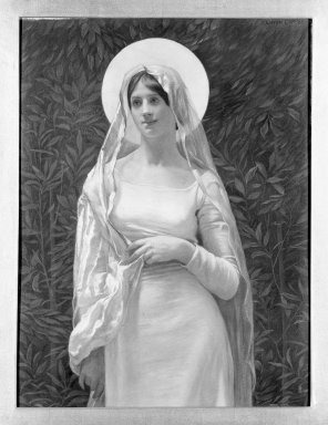 "Kenyon Cox (American, 1856-1919). <em>The Blessed Damozel: ""Where the Lady Mary Is,""</em> 1886. Oil, grisaille on canvas, Design: 19 3/4 x 14 7/8 in. Brooklyn Museum, Gift of Mrs. Daniel Chauncey, 25.840p (Photo: Brooklyn Museum, 25.840p_framed_bw.jpg)"