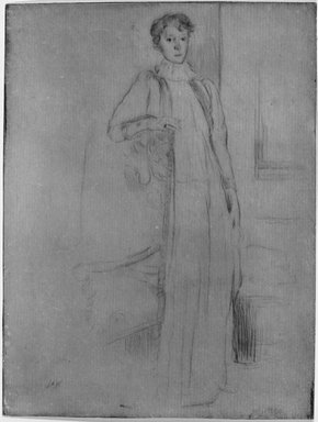 Julian Alden Weir (American, 1852-1919). <em>Standing Figure, Number One</em>, 1899. Etching on laid paper, 7 7/8 x 6 in. (20 x 15.2 cm). Brooklyn Museum, Gift of Elizabeth Luther Cary, 25.853 (Photo: Brooklyn Museum, 25.853_acetate_bw.jpg)