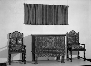 <em>Chair</em>, 1812. Wood, 42 1/8 x 18 15/16 x 17 in. (107 x 48.1 x 43.2 cm). Brooklyn Museum, Museum Expedition 1924, Robert B. Woodward Memorial Fund, 25.856.1. Creative Commons-BY (Photo: , 25.856.1_25.856.2_24921_24.236a-b_acetate_bw.jpg)