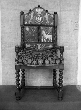 <em>Marriage Chair</em>, 1812. Wood, 42 1/8 x 18 15/16 x 17 in. (107 x 48.1 x 43.2 cm). Brooklyn Museum, Museum Expedition 1924, Robert B. Woodward Memorial Fund, 25.856.2. Creative Commons-BY (Photo: Brooklyn Museum, 25.856.2_glass_bw.jpg)