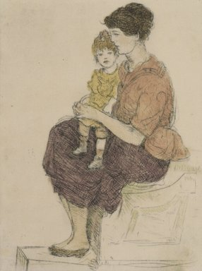 Jerome Myers (American, 1867-1940). <em>Woman and Child</em>. Drypoint & etching, Sheet: 10 5/8 x 7 15/16 in. (27 x 20.2 cm). Brooklyn Museum, Gift of the artist, 25.888. © artist or artist's estate (Photo: Brooklyn Museum, 25.888.jpg)