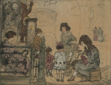 Jerome Myers (American, 1867-1940). <em>Street Scene</em>. Etching and aquatint, Sheet: 9 15/16 x 11 11/16 in. (25.2 x 29.7 cm). Brooklyn Museum, Gift of the artist, 25.889. © artist or artist's estate (Photo: Brooklyn Museum, 25.889.jpg)