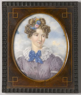 Unknown. <em>Portrait of a Young Woman</em>, ca. 1820s-1830s. Watercolor on ivory portrait in wood frame under glass, Image (sight): 4 7/8 x 4 in. (12.4 x 10.2 cm). Brooklyn Museum, Museum Collection Fund, 25.904 (Photo: Brooklyn Museum, 25.904_PS1.jpg)