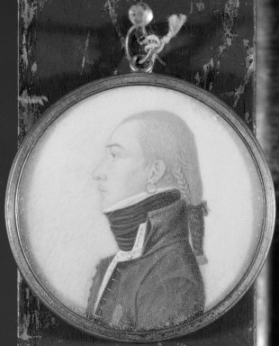 Unknown. <em>Portrait in Profile of a Young Man</em>, n.d. Watercolor on ivory portrait in metal locket with glass lenses, Image (sight): 2 x 2 in. (5.1 x 5.1 cm). Brooklyn Museum, Museum Collection Fund, 25.905 (Photo: Brooklyn Museum, 25.905_bw_SL1.jpg)