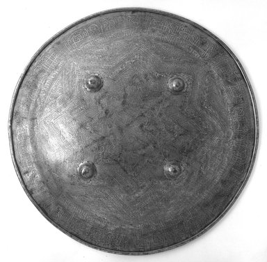 <em>Rondache, Shield</em>, early 18th century. Iron Brooklyn Museum, 25.908. Creative Commons-BY (Photo: Brooklyn Museum, 25.908_bw.jpg)