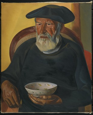 Boris Grigoriev (Russian, 1886-1939). <em>Old Trombola</em>, 1924. Oil on canvas, 29 x 23 1/2 in. (73.7 x 59.7cm). Brooklyn Museum, Gift of Mrs. W. Murray Crane, Morton E. Goldsmith, Boris Grigoriev, and The New Gallery, 25.90 (Photo: Brooklyn Museum, 25.90_PS2.jpg)