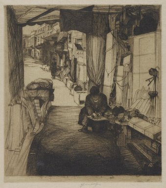 John W. Winkler (American, born Austria, 1890-1979). <em>The Delicatessen Maker (Large)</em>, 1922. Etching on Japan paper, sheet: 16 1/2 x 12 in. (41.9 x 30.5 cm). Brooklyn Museum, 25.915. © artist or artist's estate (Photo: Brooklyn Museum, 25.915_PS4.jpg)