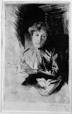 Julian Alden Weir (American, 1852-1919). <em>By Candlelight</em>, 19th century. Drypoint on thin laid paper, 10 3/8 x 6 1/2 in. (26.4 x 16.5 cm). Brooklyn Museum, Gift of Elizabeth Luther Cary, 25.94 (Photo: Brooklyn Museum, 25.94_bw.jpg)