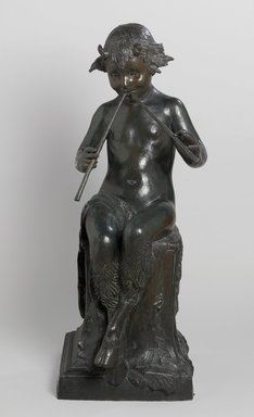 Janet Scudder (American, 1873-1940). <em>Seated Faun</em>, 1924. Bronze, 38 x 14 3/8 x 18 1/4 in. (96.5 x 36.5 x 46.4 cm). Brooklyn Museum, Robert B. Woodward Memorial Fund, 26.184 (Photo: Brooklyn Museum, 26.184_front_PS1.jpg)