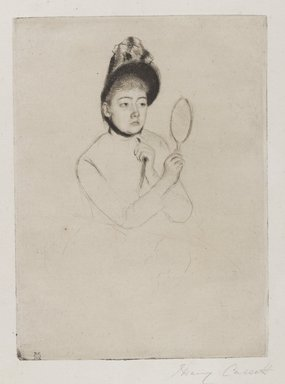 Mary Cassatt (American, 1844-1926). <em>Femme au Mirroir (The Bonnet)</em>, ca. 1891. Drypoint on cream-colored laid paper, Plate: 7 5/16 x 5 3/8 in. (18.6 x 13.6 cm). Brooklyn Museum, Gift of Frank L. Babbott, 26.32 (Photo: Brooklyn Museum, 26.32_PS4.jpg)