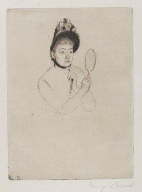 Mary Cassatt (American, 1844-1926). <em>Femme au Mirroir (The Bonnet)</em>, ca. 1891. Drypoint on cream-colored laid paper, Plate: 7 5/16 x 5 3/8 in. (18.6 x 13.6 cm). Brooklyn Museum, Gift of Frank L. Babbott, 26.32 (Photo: Brooklyn Museum, 26.32_PS4.jpg)