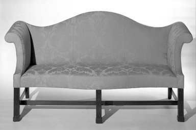 <em>Sofa</em>, ca. 1760. Damask, 36 x 22 3/4 x 70 in. (91.4 x 57.8 x 177.8 cm). Brooklyn Museum, Frank Sherman Benson Fund and Henry L. Batterman Fund, 26.37. Creative Commons-BY (Photo: Brooklyn Museum, 26.37_bw.jpg)