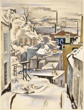 Preston Dickinson (American, 1891-1930). <em>Street in Quebec</em>, 1926. Pastel, graphite, and opaque watercolor on cream, medium-weight, slightly textured wove paper, 30 x 24 in. (76.2 x 61 cm). Brooklyn Museum, Gift of Frank L. Babbott, 26.430 (Photo: , 26.430_SL3.jpg)