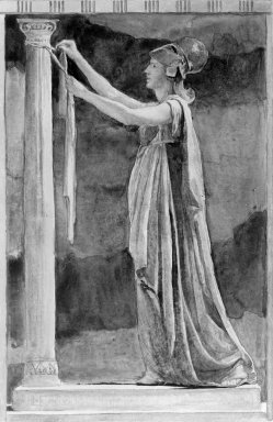 John La Farge (American, 1835-1910). <em>Design for the Felton Window</em>. Watercolor Brooklyn Museum, Museum Surplus Fund, 26.433 (Photo: Brooklyn Museum, 26.433_glass_bw.jpg)