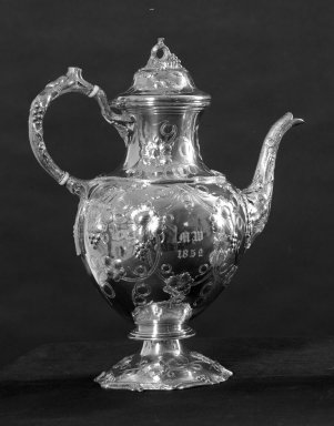 William Gale & Son (American, active New York, 1850-1866). <em>Teapot (Part of 4-piece Tea Service)</em>, 1852. Silver, 11 3/4 x 9 1/2 in. (29.8 x 24.1 cm). Brooklyn Museum, Gift of Frances Elizabeth Wood, 26.434.1. Creative Commons-BY (Photo: Brooklyn Museum, 26.434.1_acetate_bw.jpg)