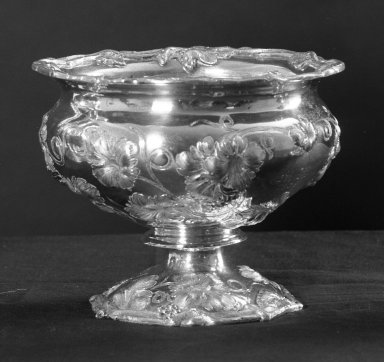 William Gale & Son (American, active New York, 1850-1866). <em>Slop Bowl (Part of 4-piece Tea Service)</em>, 1852. Silver, 9 7/16 x 7 7/8 in. (24 x 20 cm). Brooklyn Museum, Gift of Frances Elizabeth Wood, 26.434.4. Creative Commons-BY (Photo: Brooklyn Museum, 26.434.4_acetate_bw.jpg)