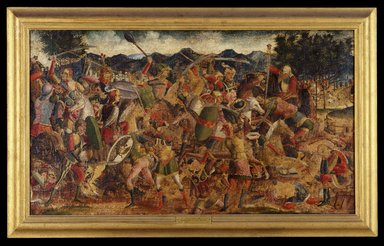 North Italian School (possibly Vicenza or Padua). <em>A Battle Scene</em>, ca. 1500. Tempera and oil on canvas, 24 x 42 1/2 in. (61 x 108 cm). Brooklyn Museum, Gift of Frank L. Babbott, 26.517 (Photo: Brooklyn Museum, 26.517_SL1.jpg)