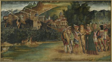 North Italian School (possibly Vicenza or Padua). <em>The Marriage of Jason and Medea</em>, ca. 1500. Tempera and oil on canvas, 24 x 42 1/2 in. (61 x 108 cm). Brooklyn Museum, Gift of Frank L. Babbott, 26.518 (Photo: Brooklyn Museum, 26.518_PS2.jpg)