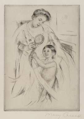 Mary Cassatt (American, 1844-1926). <em>La Glace a Main</em>, ca. 1905. Drypoint on cream colored laid paper, 8 1/8 x 5 13/16 in. (20.7 x 14.8 cm). Brooklyn Museum, Gift of Frank L. Babbott, 26.583 (Photo: Brooklyn Museum, 26.583_PS4.jpg)