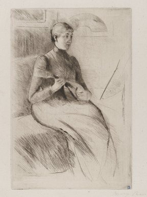 Mary Cassatt (American, 1844-1926). <em>La Mandoline (The Mandolin Player)</em>, ca. 1889. Drypoint on white laid paper, Plate: 9 1/4 x 6 1/4 in. (23.5 x 15.8 cm). Brooklyn Museum, Gift of Frank L. Babbott, 26.584 (Photo: Brooklyn Museum, 26.584_PS4.jpg)