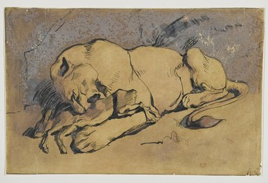 Eugène Delacroix (French, 1798-1863). <em>Lioness Devouring a Rabbit</em>. Pen and ink with reddish wash on paper, 9 x 14 1/8 in. (22.9 x 35.8 cm). Brooklyn Museum, Carll H. de Silver Fund, 26.59 (Photo: Brooklyn Museum, 26.59_PS2.jpg)